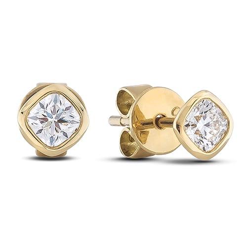 Forevermark Ideal Cushion Bezel Set Diamond Stud Earrings In 18k Yellow Gold