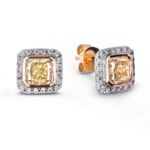 fancy yellow halo diamond earrings