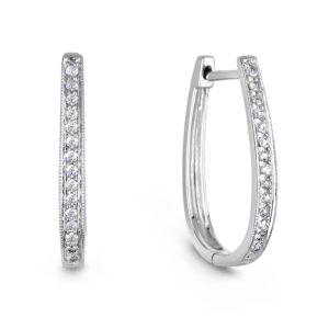 Diamond Hoop Earrings In White Gold