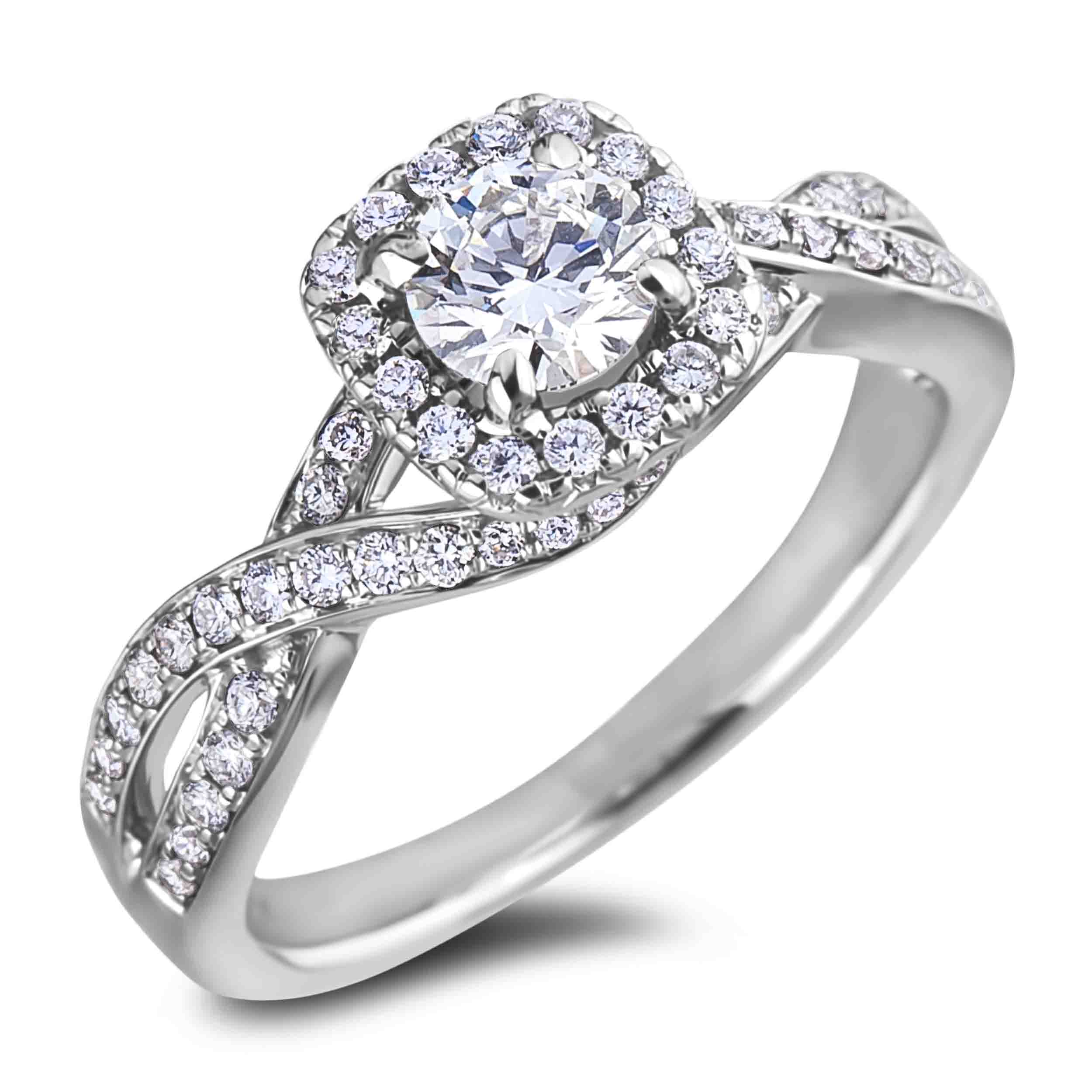 Diamond Halo Weave Engagement Ring In 18K White Gold