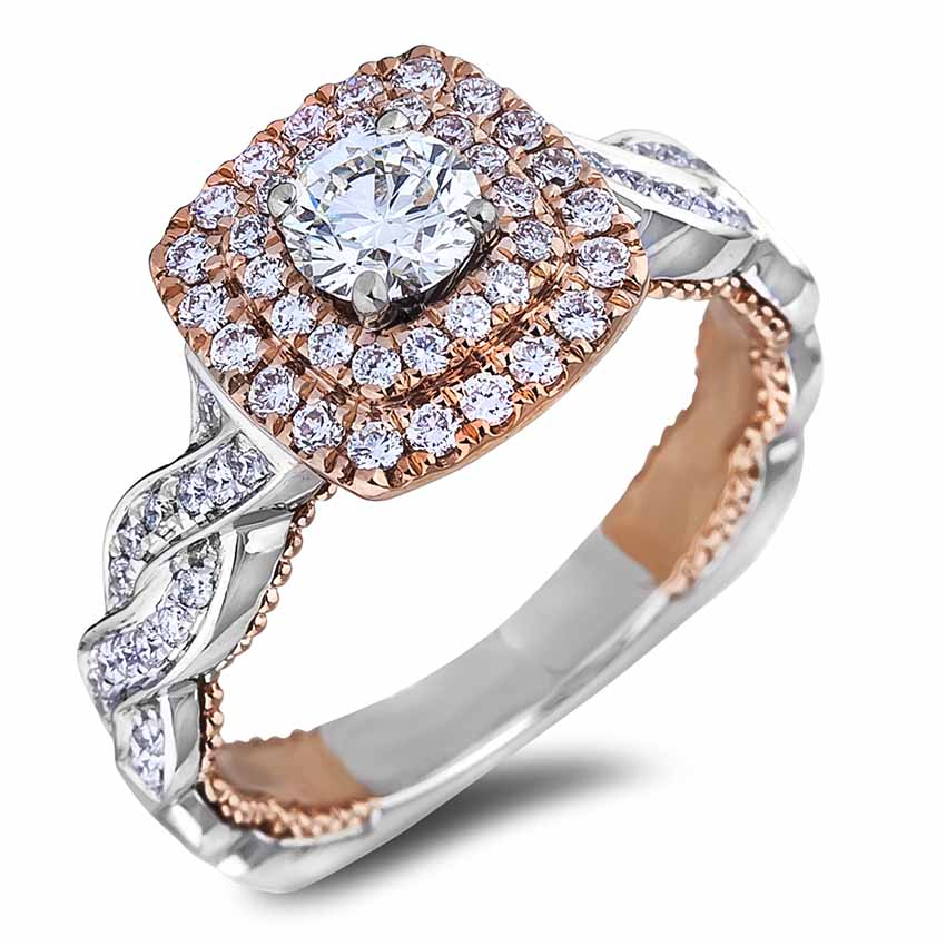 6aa32600c Diamond Double Halo Engagement Twist Setting Ring | Lugaro