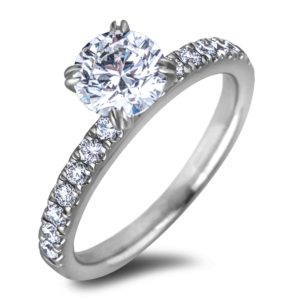 14K Round Diamond Engagement Ring