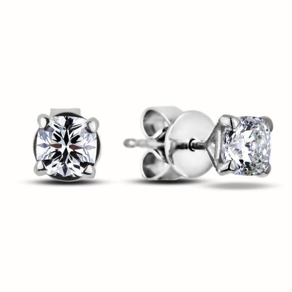 ideal cushion diamond studs earrings