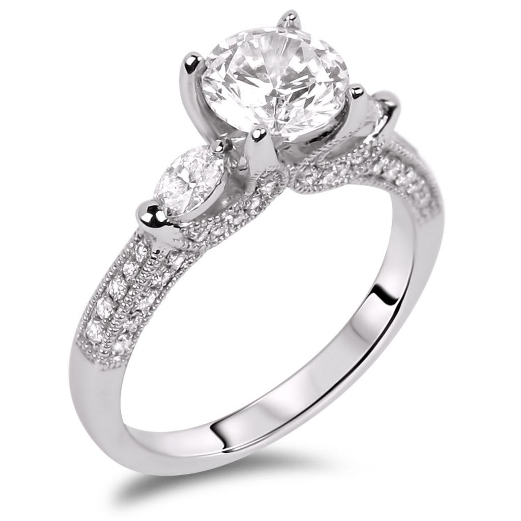 Forevermark Diamond Trilogy Engagement Ring 18K White Gold