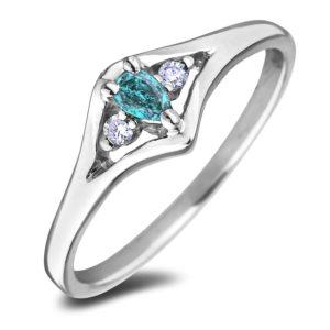 10K white gold three stone gemstone ring