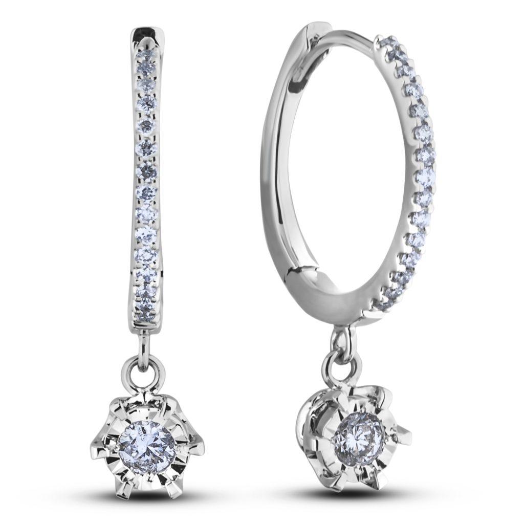 Canadian Diamond Dangle Hoop Earrings Lugaro