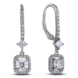 cushion cut diamond dangle earrings