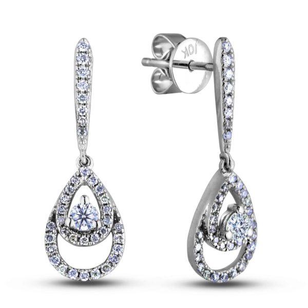 Canadian diamond double pear shape dangle earrings