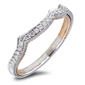 Women's Matching Diamond Wedding Wave Band