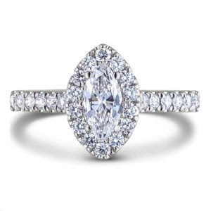 canadian Marquise diamond halo engagement ring