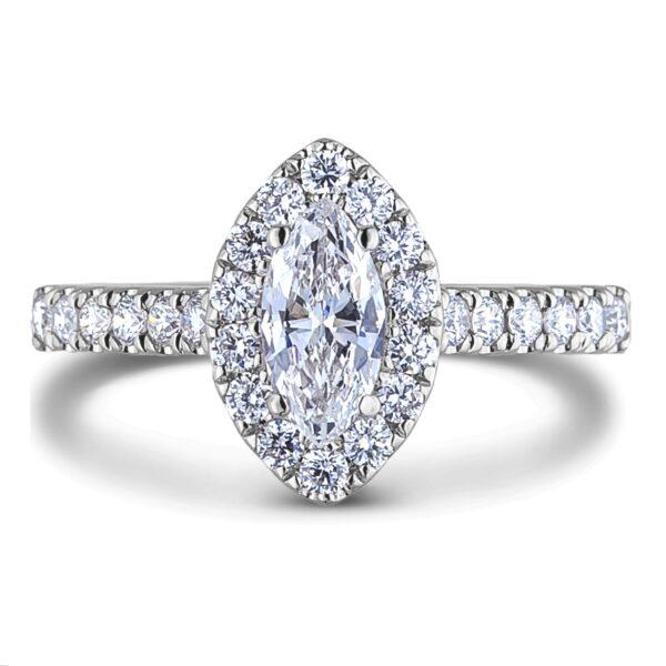 canadian Marquise diamond halo engagement ring