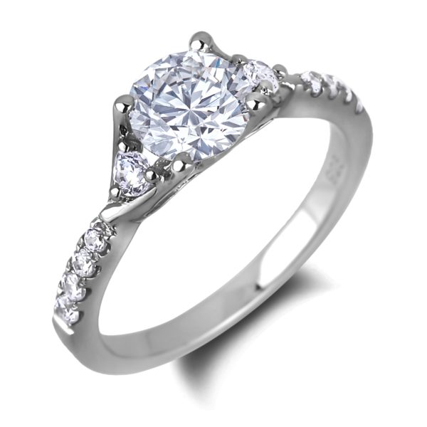 White gold diamond three stone engagement ring