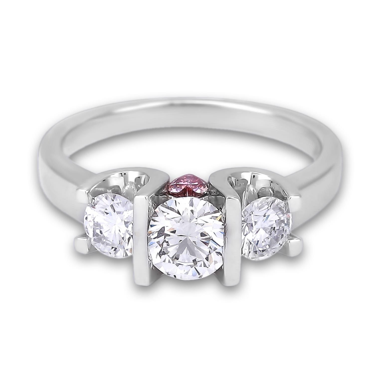 0 45 Carat Forevermark Diamond Trilogy Engagement Ring With Pink Sapphire Accents Lugaro