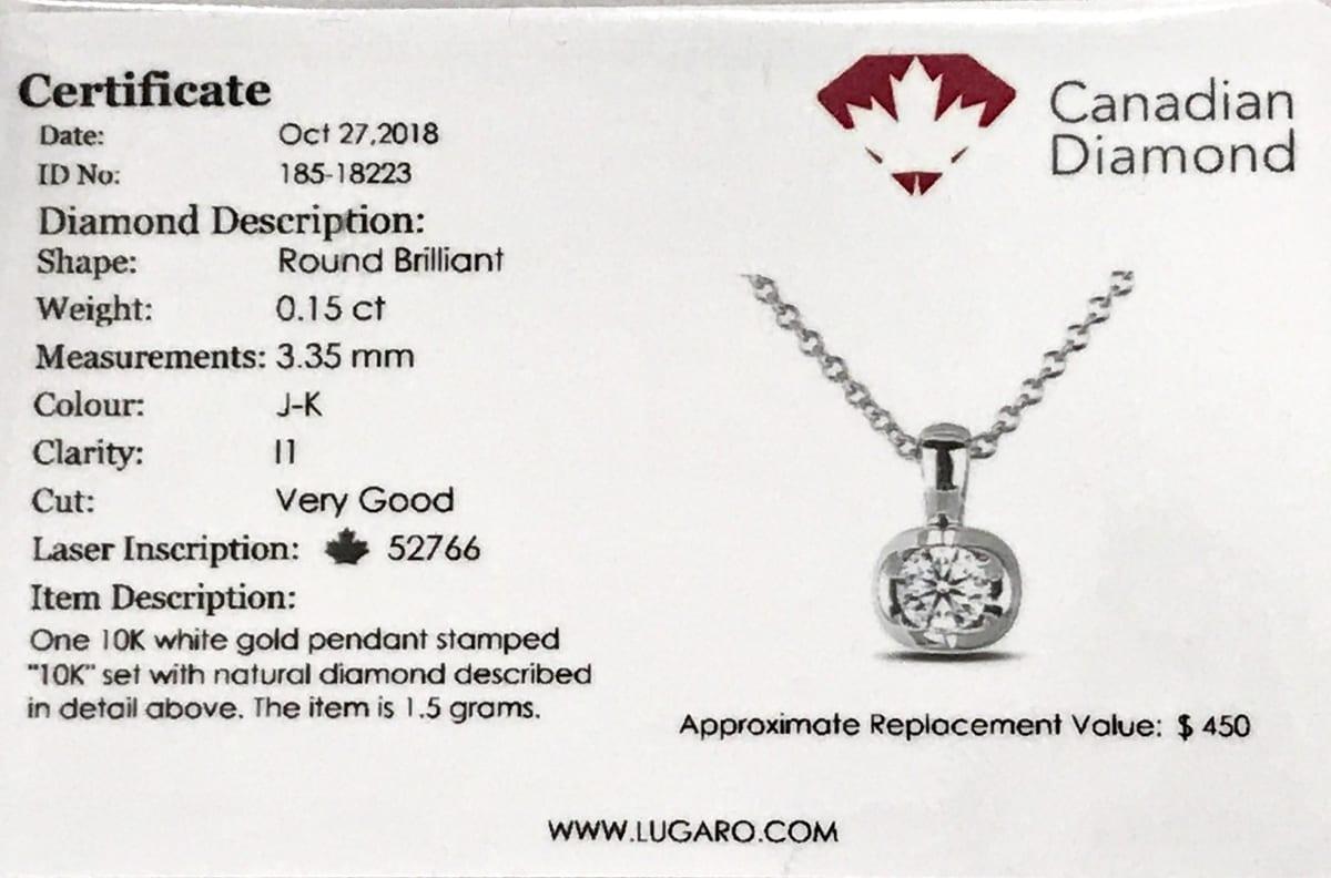 Stud earrings pendents Certificate