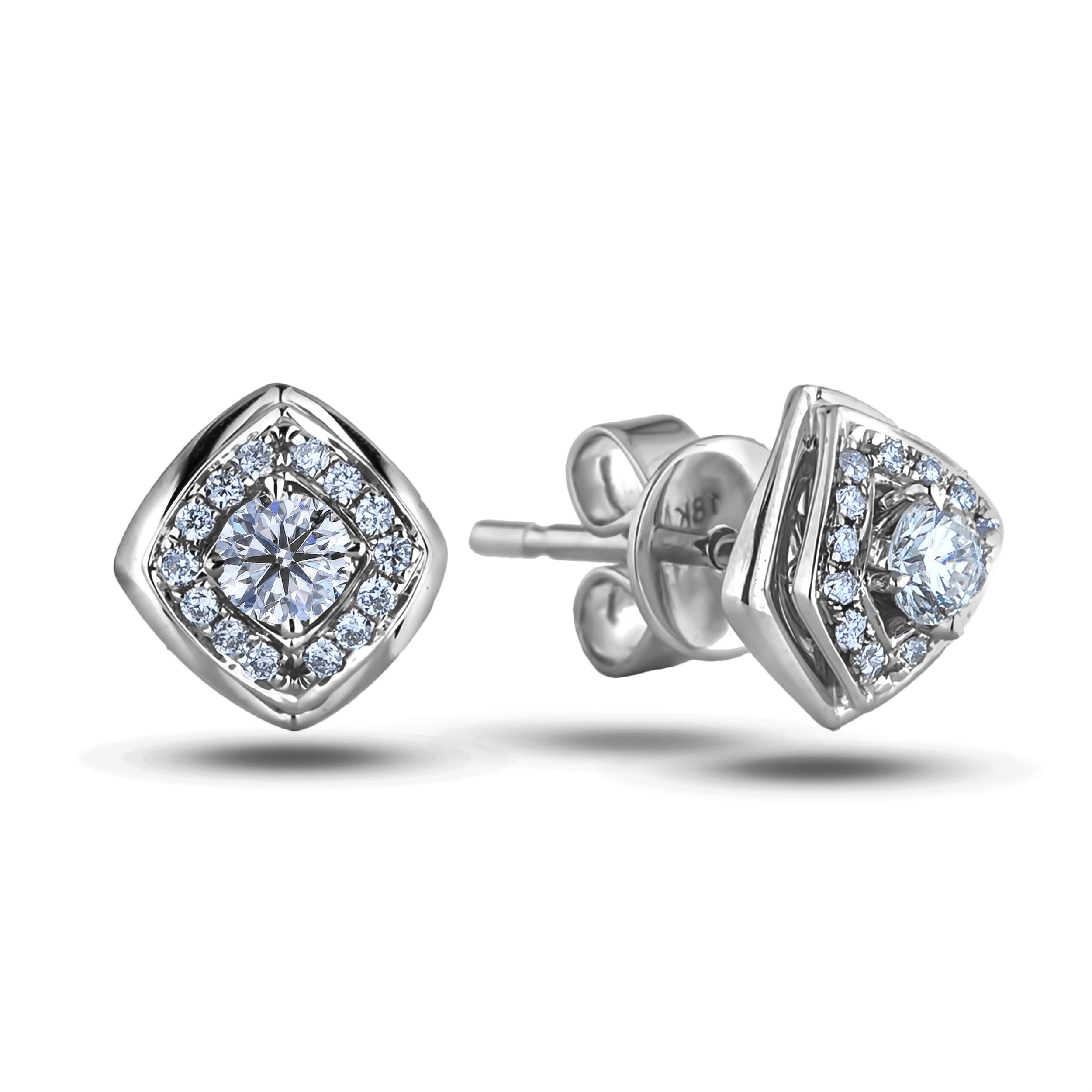 12afba8811ad6 FOREVERMARK DIAMOND HALO SQUARE EARRING