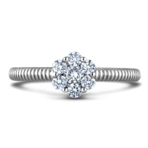 18K white gold Forevermark diamond flower engagement ring