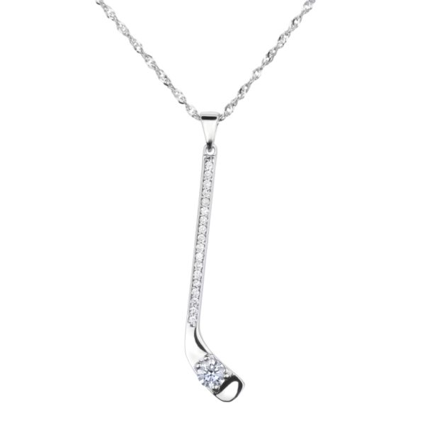 hockey stick diamond necklace