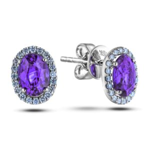 amethyst and diamond halo studs earring