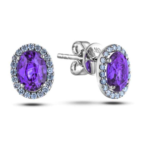 amethyst diamond halo studs earring