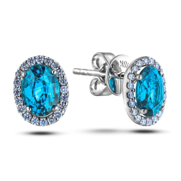 blue topaz and diamond halo stud earrings