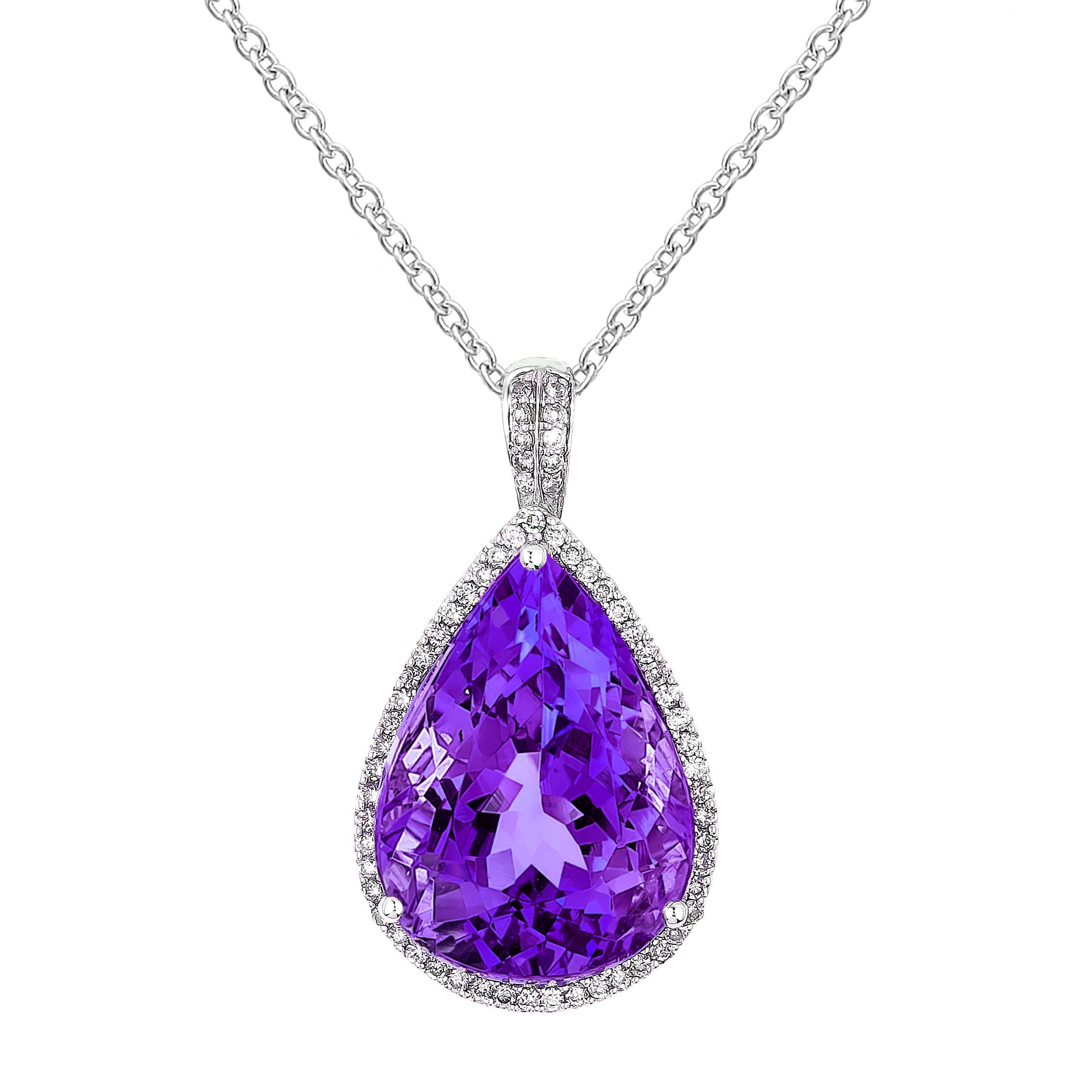 Pear Amethyst & Diamond Necklace in White Gold | Lugaro