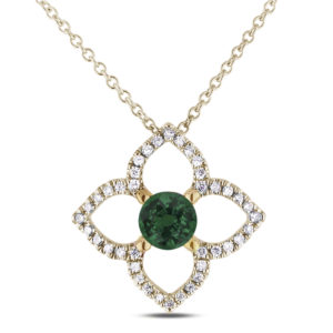emerald and diamond flower pendant