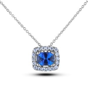 Sapphire And Diamond halo Square Frame Pendant
