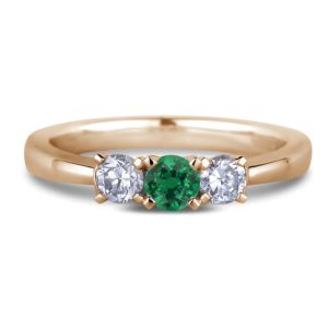 canadian diamond and emerald three stone ring
