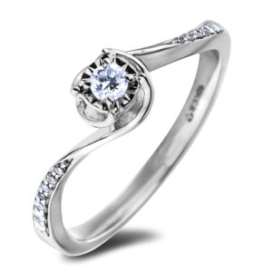 Canadian diamond swirl engagement ring