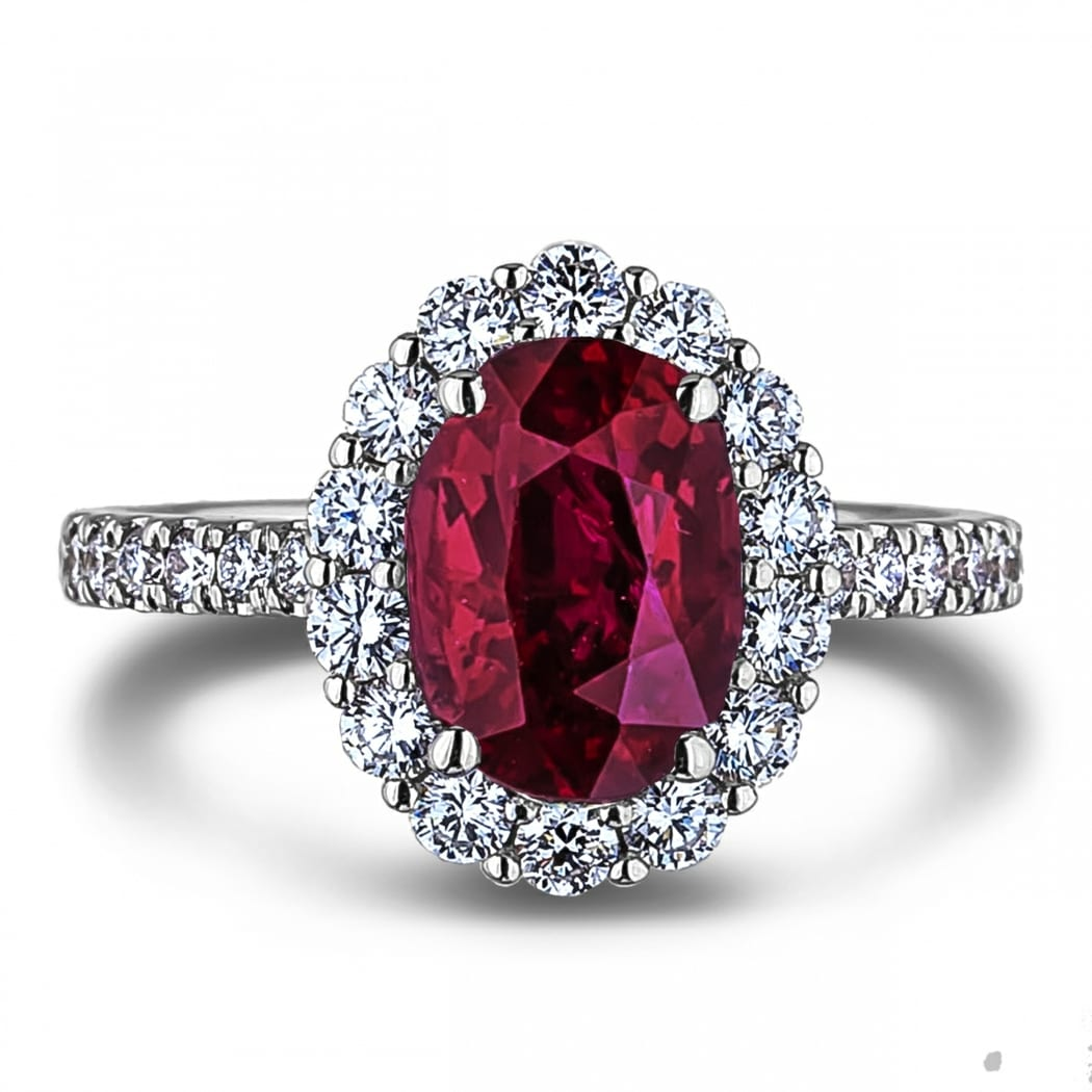 2 05 Carat Oval Shaped Ruby And Diamond Halo Engagement Ring In 18k White Gold Lugaro