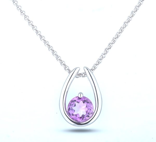 1.24 carat brazilian amethyst necklace and chain