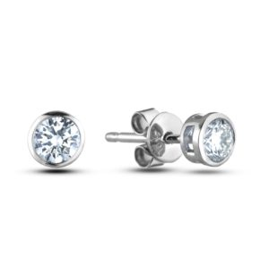 Round Diamond Bezel-set Stud Earrings