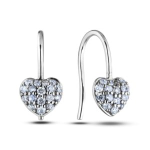 diamond heart hook style earrings
