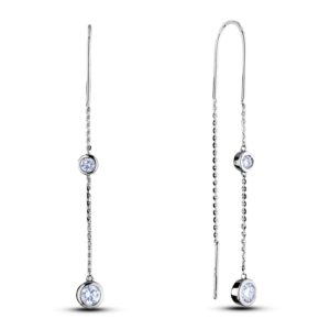 Canadian diamond two stone threader earrings