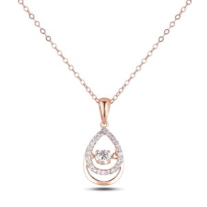 canadian diamond pear frame rose gold pendant