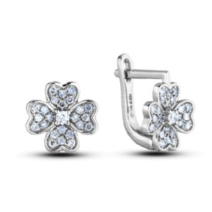 DIAMOND FLOWER HOOK STYLE EARRINGS