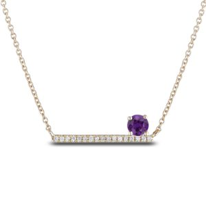 amethyst and diamond bar necklace
