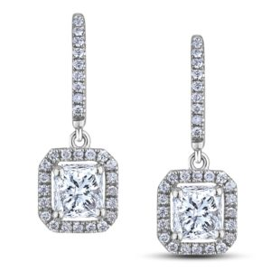 canadian ideal square diamond dangle earrings