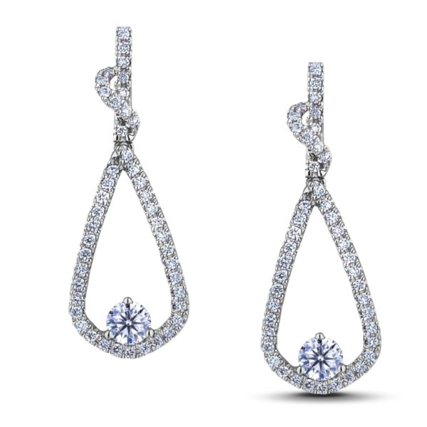 canadian round diamond dangle earrings