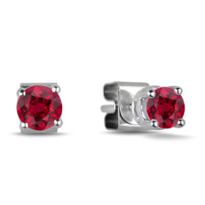 Round Shape Ruby Stud Earrings