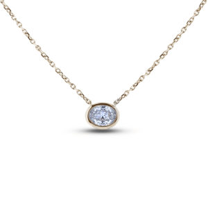 oval shape diamond Bezel Set necklace