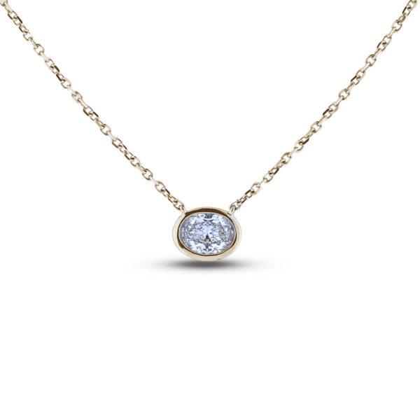 oval shape diamond Bezel Set necklace