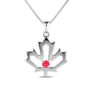 Silver maple leaf pink tourmaline pendant