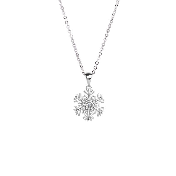 silver diamond snowflake pendant