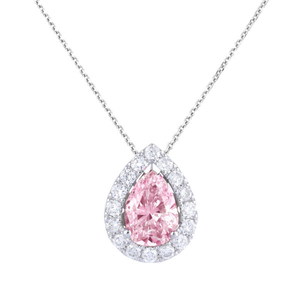 pink sapphire & diamond halo pendant