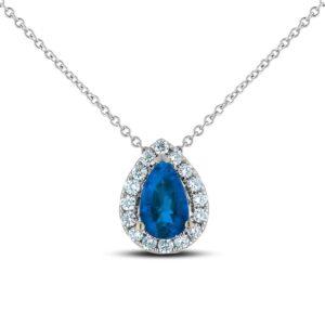 Blue Sapphire & Diamond Halo Pendant