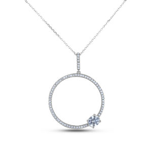 GIA oval diamond circle necklace