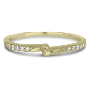 10k yellow gold ladies' matching diamond wedding band