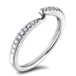 Ladies' matching round diamond wedding band
