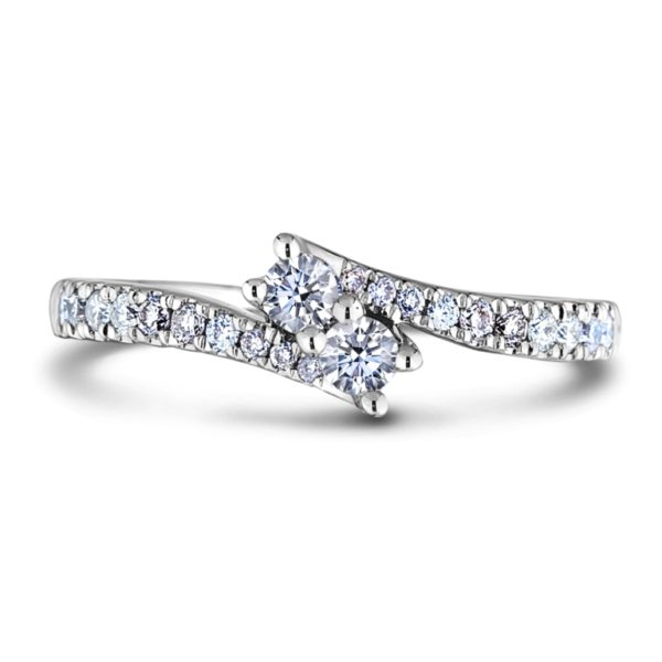 two stone canadian round diamond promise ring